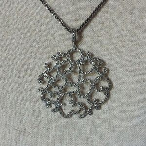 Sterling Marcasite Swirl Pendant Matching Chain